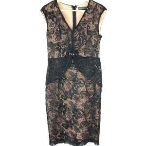 KM Collection Milla Bell Black Lace Sequin Nude